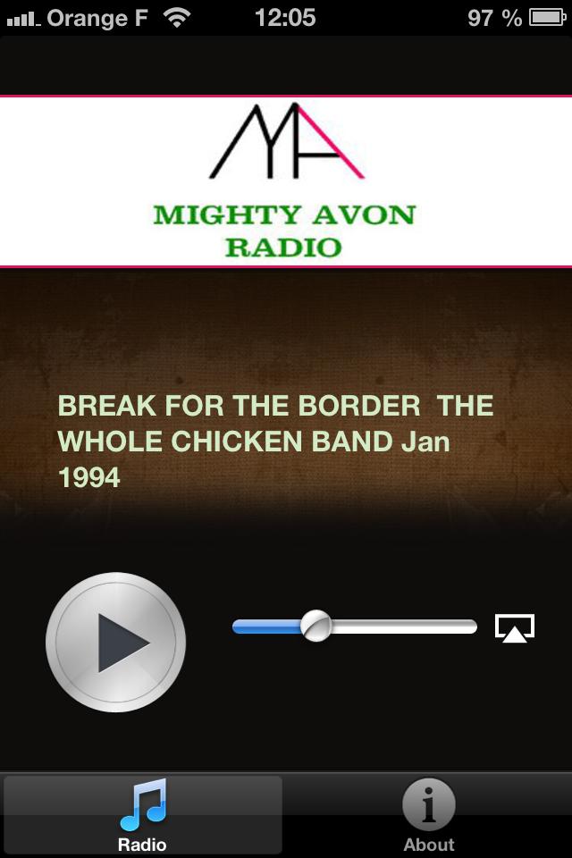 Application iPhone de Mighty Avon Radio