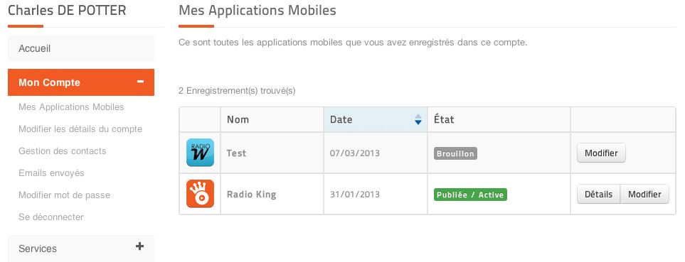 Gérez vos applications mobiles radio sur votre espace client Radio King