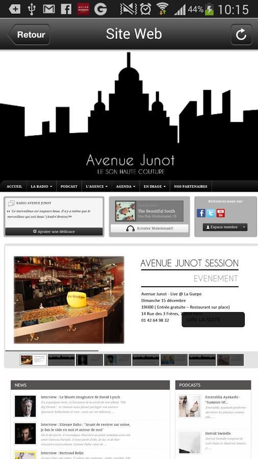 Le Site d'Avenue Junot intégré dans son application