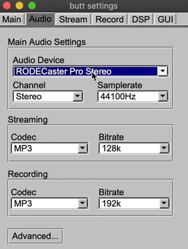 Live RodeCaster Pro - BUTT